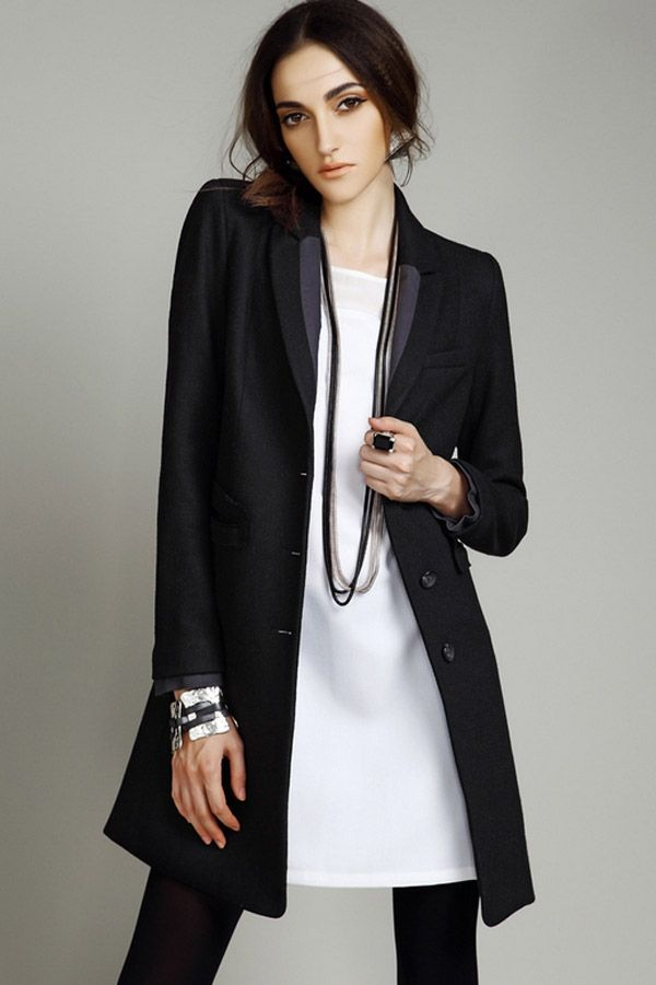 Wool-blend Chesterfield Coat - OASAP.com