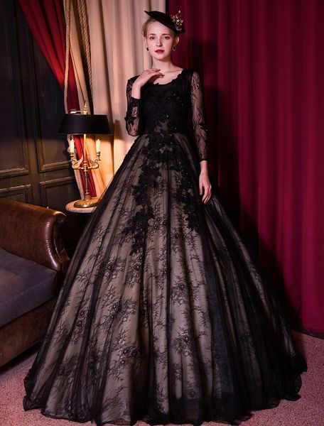 Black Lace Wedding Dress with Flowers