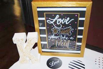 "More fun Wedding Signs "" Love is Sweet , Take a treat!"""