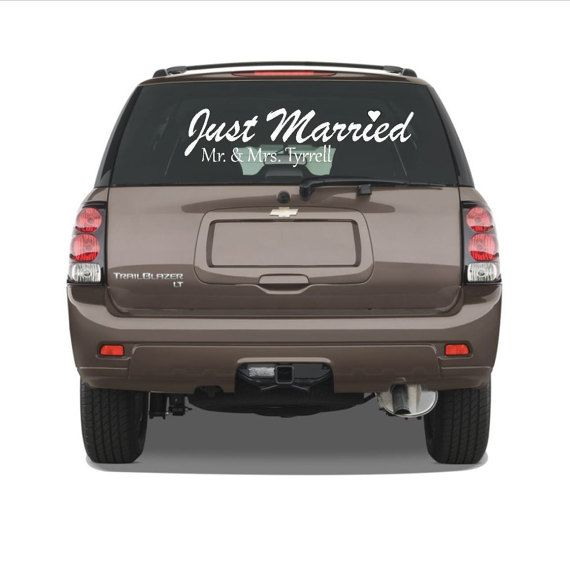Just married car decal just married decor by OnceUponAHoliday