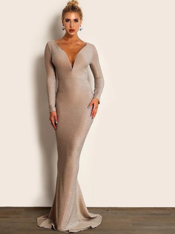 Joyfunear plunge neck backless glitter bodycon maxi dress
