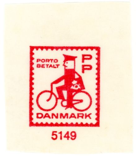 stampdesigns:  Denmark prepaid stamp: man on bike c. 1963