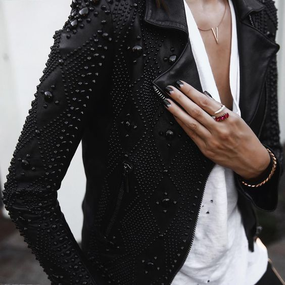 Black studded jacket. Pinterest @TatiRocks⭐️