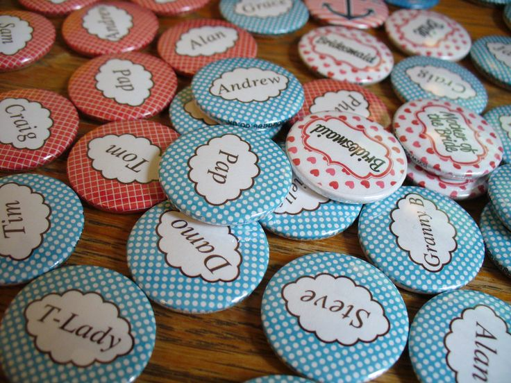 A set of cute name badges for a wedding. Customise your own for only 75p at