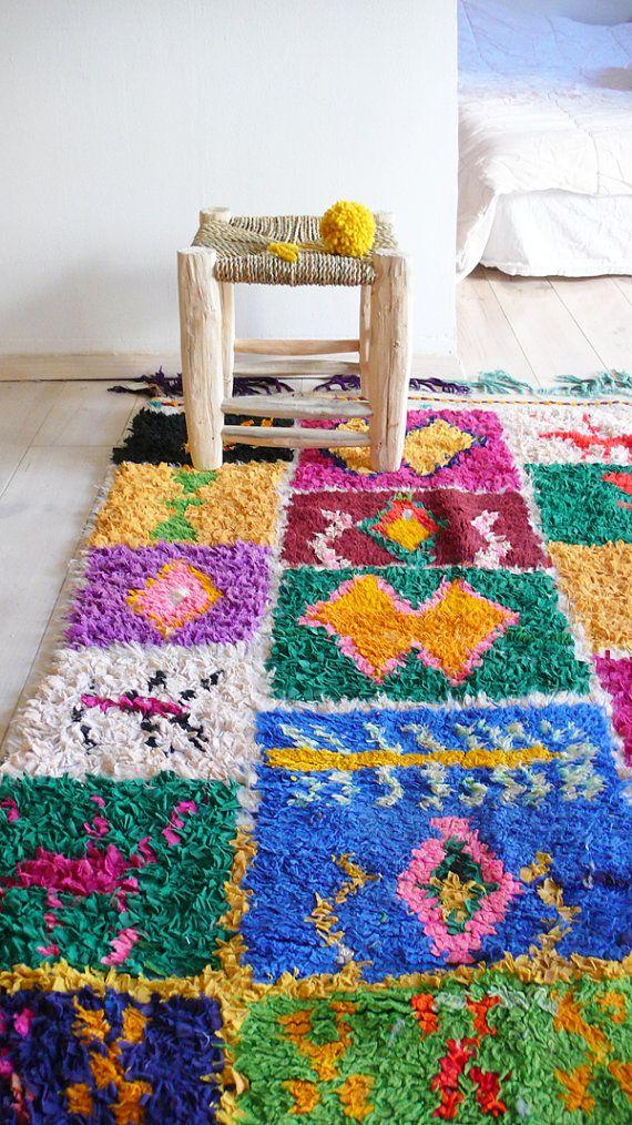 Vintage Moroccan Rag Rug BOUCHEROUITE squares by lacasadecoto
