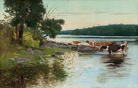Sigfrid August Keinänen - VIEW OVER THE LAKE - Finland, Finnish cows