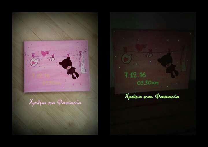 Painting canvas for first baby's room with details with colours dark.in.glow