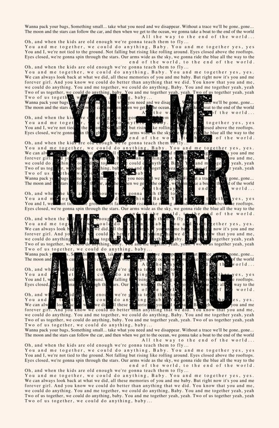 You and Me - Book Page -- Dave Matthews Band Lyrics Poster print, studio wall art, distressed typography print