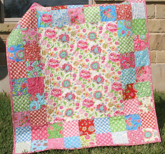 Quilt Ideas For Baby Girl : Baby Girl Quilt Pink Blue Girly Girl Blanket Gypsy Girl