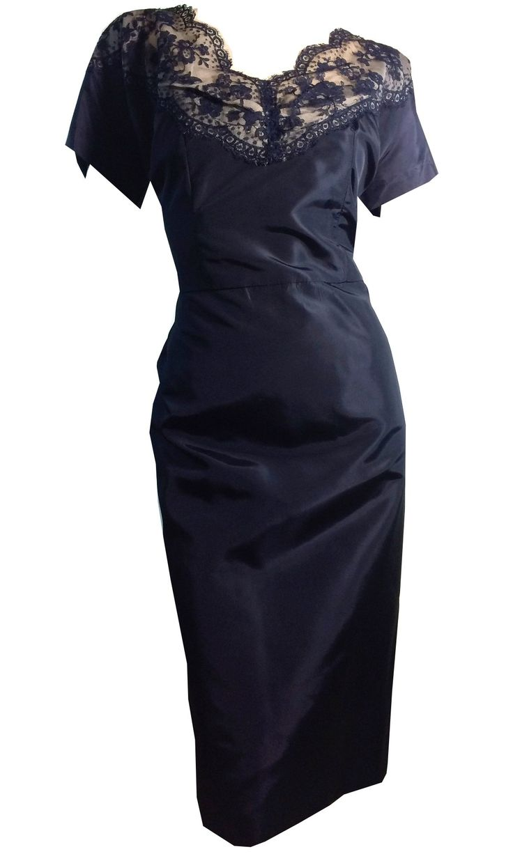 Ink Blue Taffeta Cocktail Dress With Illusion Lace