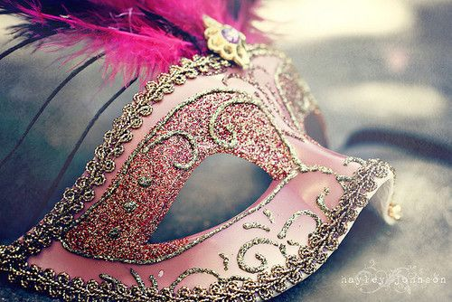 pink glitter masquerade mask
