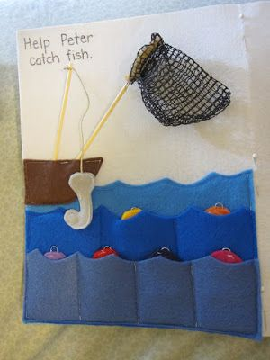 Shannon Makes Stuff: Quiet Book: Page Fishing With Peter. Uses a magnet to catch fish.