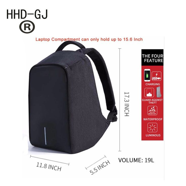 HHD-GJ Brand External USB Charge Laptop Backpack Anti-theft Notebook Computer Bag 15.6 inch for Business Men Women Laptop bag #Affiliate