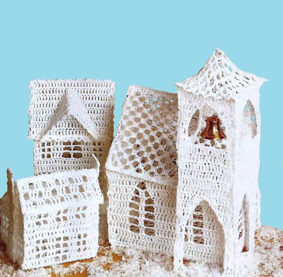 Christmas Village-crochet pattern-vintage by Memorylanepatterns