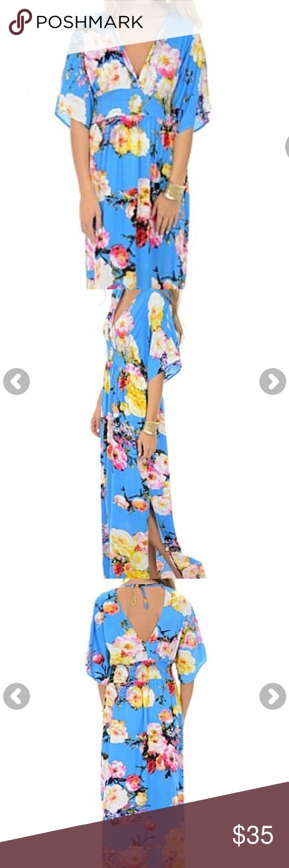 Aqua Pop Maxi Dress Adorable flutter sleeve maxi. Easy fit the blue door boutique Dresses Maxi