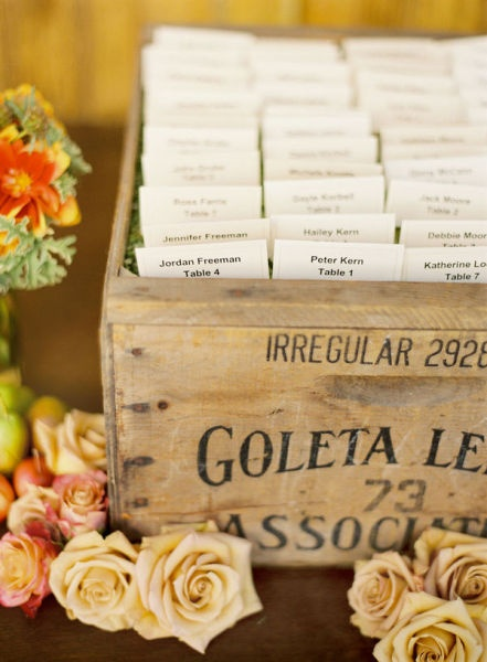 Escort Cards placed in a vintage wine crate.