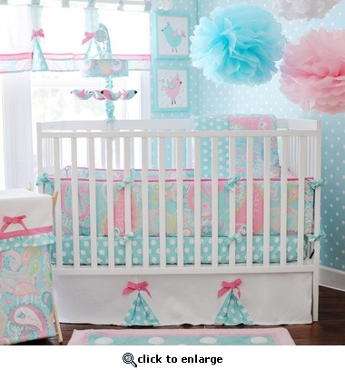 Pink and aqua nursery. The bedding itself is nice, but the rest is too much for me. The matching wallpaper, picture, windows, decorations, it looks like cotton candy threw up all over the room.