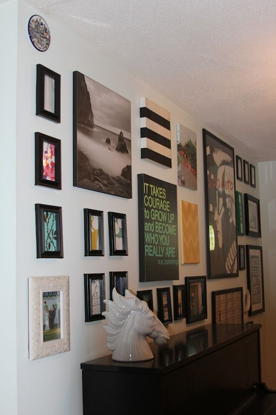 Gallery Wall Tutorial w/great ideas for how to fill the frames with prints, cards, art, etc.