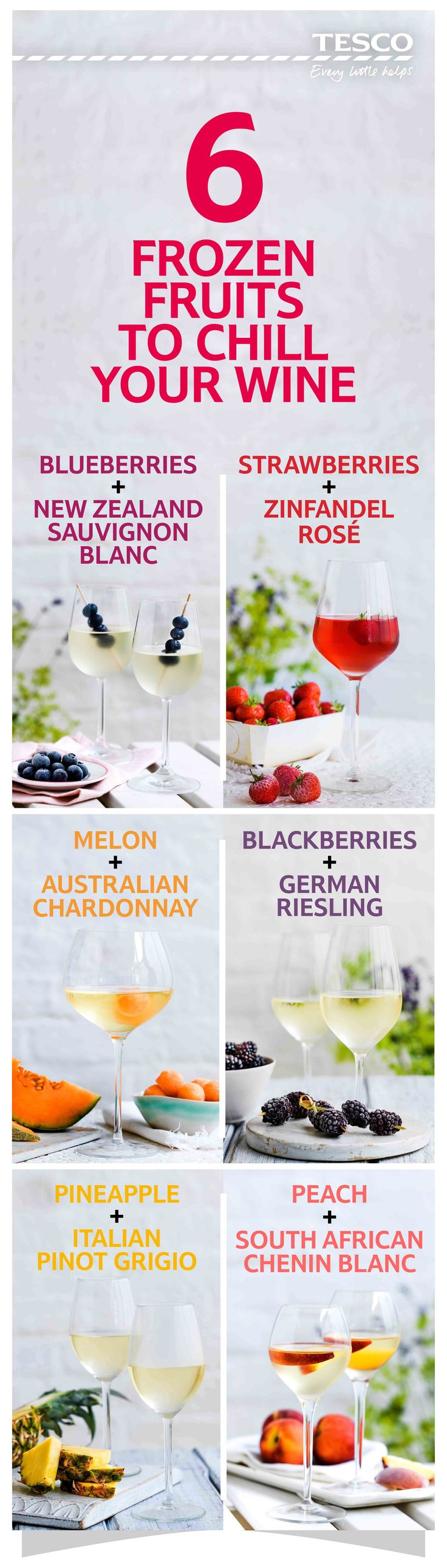 Forget ice, keep your wine perfectly chilled using frozen fruit. It doesn't melt into your vino but instead imparts a mild flavour as it thaws. Here's our guide to the perfect frozen fruit and wine pairings. Explore our range of Tesco wines at tes.co/TescoWine | Tesco