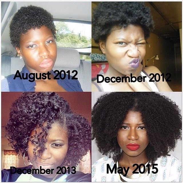 by: @naturallytemi After all this protective styling I'm doing I wonder how much my hair has grown. can't wait to have a new collage in a couple weeks.   #Hair2mesmerize #naturalhair #healthyhair  #naturalhairstyles #blackhairstyles #transitioning