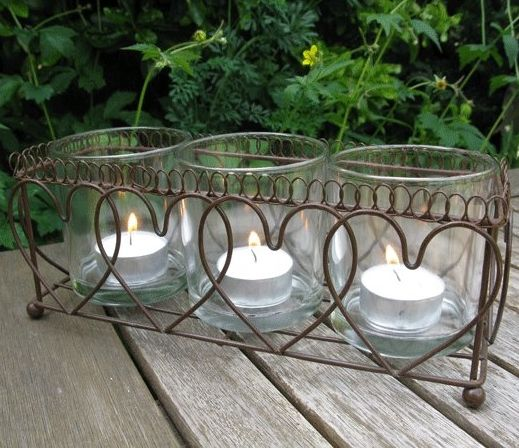 Wire Hearts candle holder