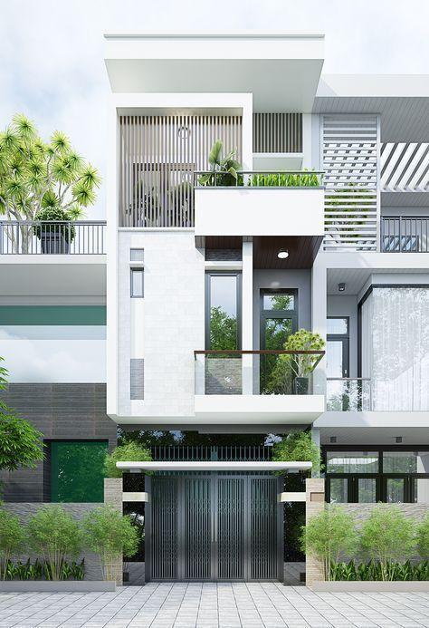 Kiến trúc nhà phố hiện đại đẹp. những mẫu thiết kế nhà phố đẹp theo phong cách thiết kế kiến trúc và nội thất hiện đại. Hình khối mạnh mẽ, màu sắc hài hòa