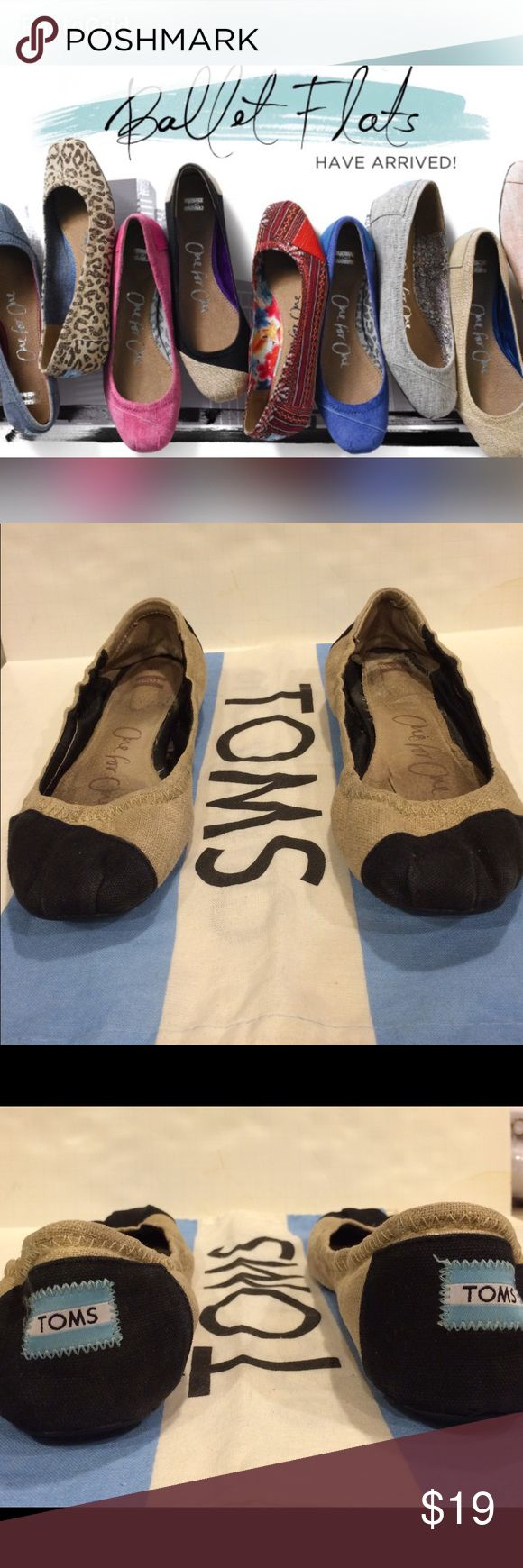 TOMS oNE FOR oNE BALLET FLATS Toms One for One natalia burlap ballet flats. Women 8 used but still in good condition, priced accordingly. Please feel free to ask questions before purchasing. TOMS Shoes Flats & Loafers