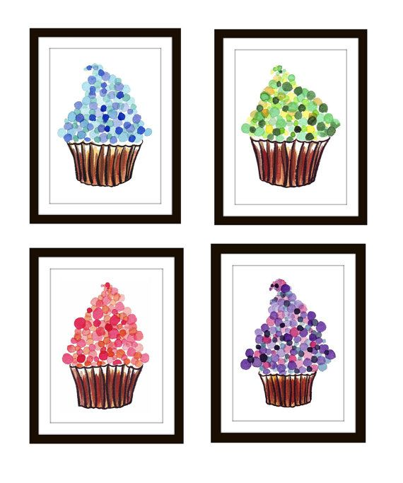 Prints Cupcakes Watercolor Paintings   Kids Room Illustrations   Childrenu0027s  Wall Art   Set Of 4 Cupcake Prints Wall Art,