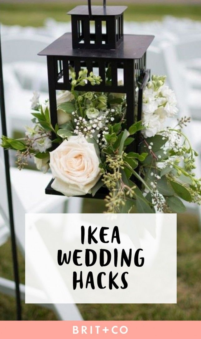 Bookmark this for fun + cheap IKEA hacks to try for your wedding. Whether you're a total DIY bride or craving personalized decor that won't break the bank, IKEA is a seriously smart starting point for crafting unique decor elements for your nuptials. With these hacks you can make wedding signage, mood lighting, centerpiece decorations and so much more. ,  Brit Morin