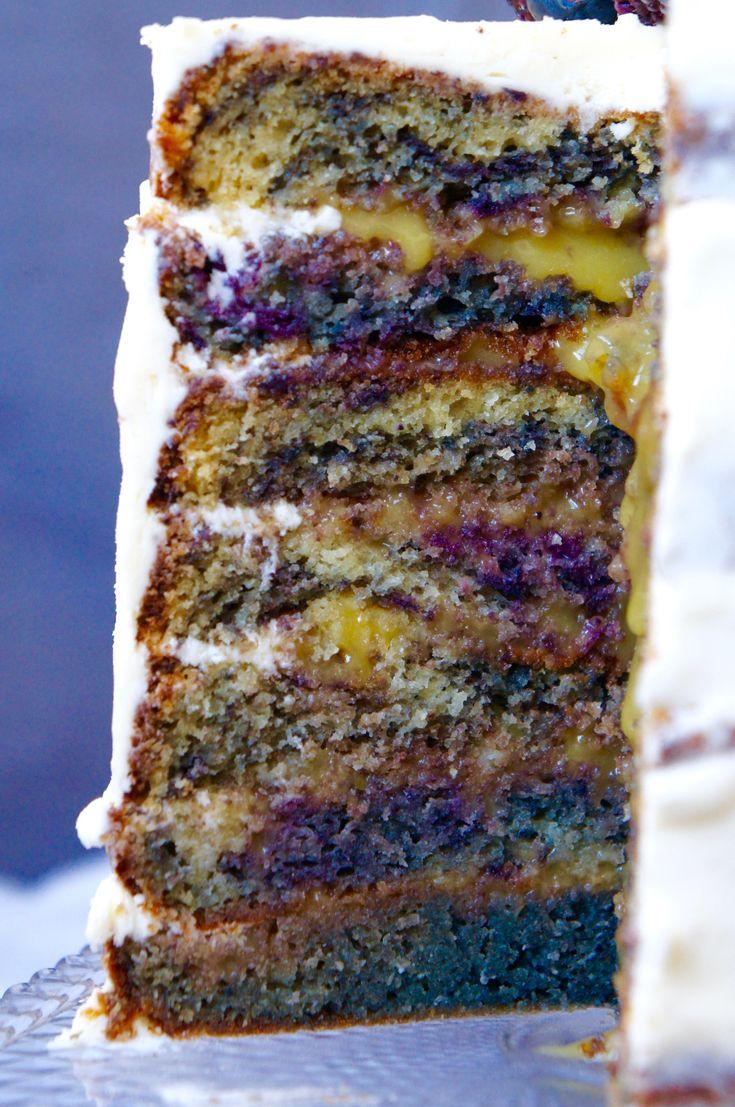 Blackberry layer cake with yuzu curd