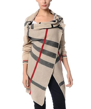 Beige Plaid Cardigan | Daily deals for moms, babies and kids