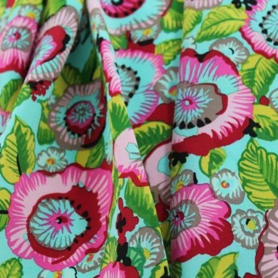 Floral Profusion Designer Silk Crepe de Chine - Multi on Aqua - Gorgeous FabricsGorgeous Fabrics