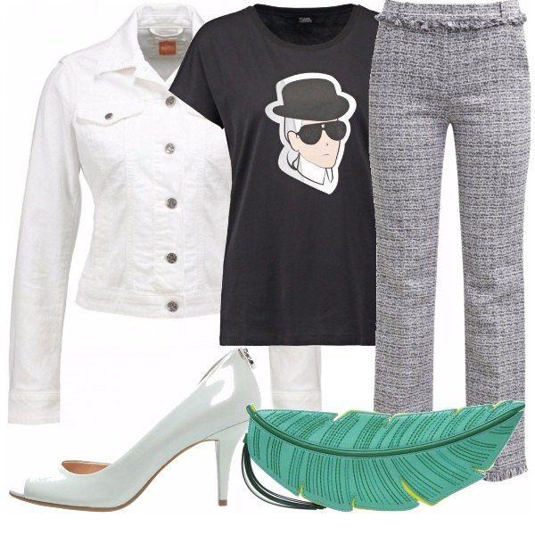 L'outfit proposto è la sintesi tra stile classico e casual, per una donna dinamica che sa cosa vuole, sa dove vuole arrivare. I pantaloni dal taglio classico sono abbinati a una t-shirt spiritosa, contrapposti a una giacca in jeans e una pochette che si fa notare.