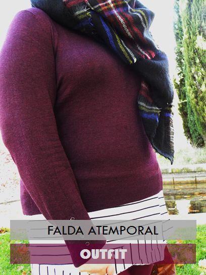 Los looks de mi armario: Falda A temporal & Bufanda Manta falda @primark jersey burgundy @primark bufanda manta @aliexpress oxford @blanco