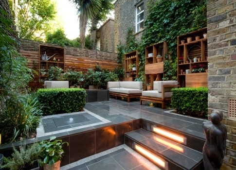 I Like The Mixing Of Built In Shelving With The Living Walls And Seating.  Small City GardenHome ...