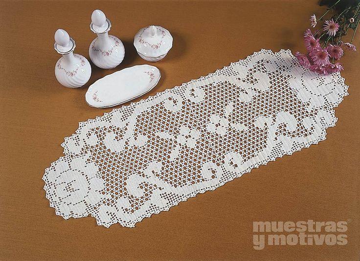 Camino de mesa tejido a ganchillo con acabado original ...