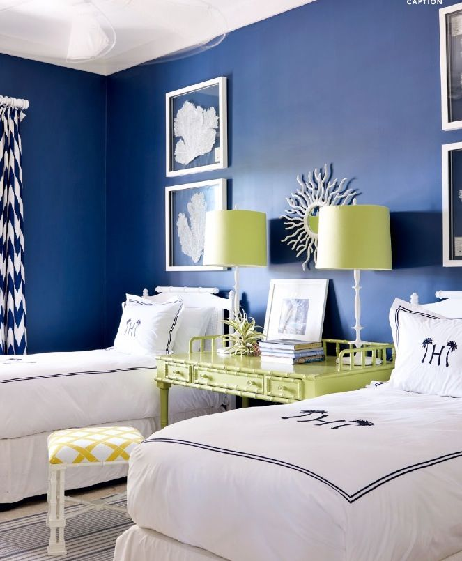 Bedroom Ideas With A Colbalt Accent Wall: Alessandra Branca April 2014 AD Cobalt Blue Walls White