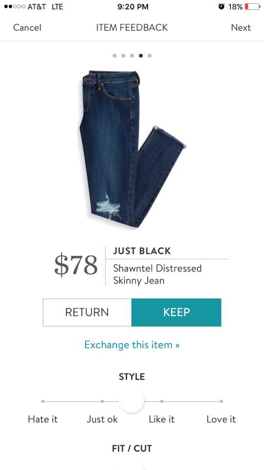 Just Black Shawntel Distressed Skinny Jean. I love Stitch Fix! A personalized styling service and it's amazing!! Simply fill out a style profile with sizing and preferences. Then your very own stylist selects 5 pieces to send to you to try out at home. Keep what you love and return what you don't. Only a $20 fee which is also applied to anything you keep. Plus, if you keep all 5 pieces you get 25% off! Free shipping both ways. Schedule your first fix using the link below! #stitchfix…