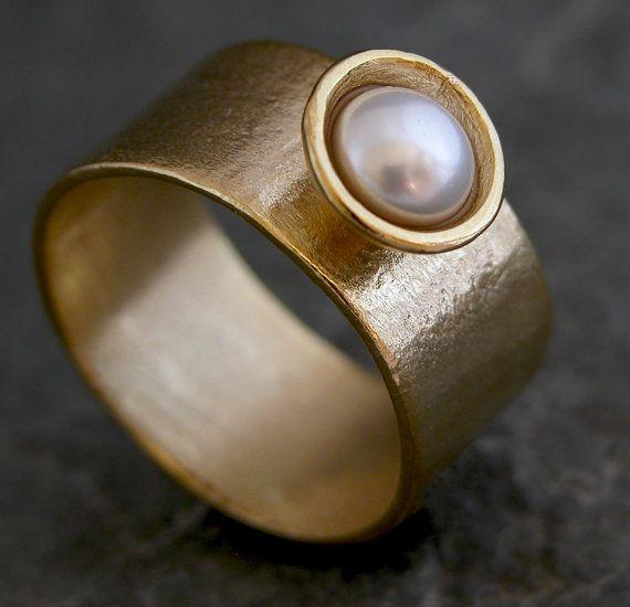 Classic Pearl Ring Pretty Woman  OOAK Gold Pearl by gazellejewelry, $60.00