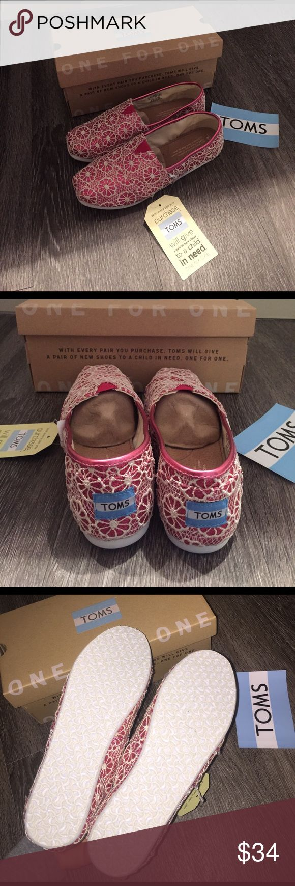 TOMS crochet glitter floral shoes NWT in box. Kids size 4 (equivalent to a women's size 6) TOMS Shoes