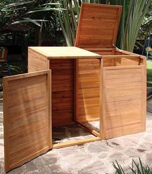 A hardwood wheelie bin screen really will last outdoors and this double bin screen is just wonderful