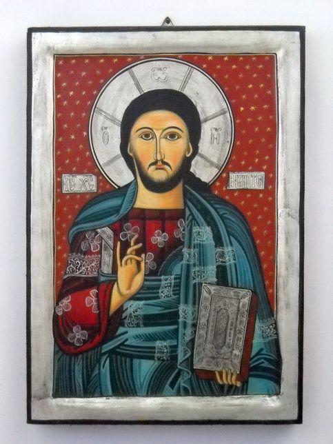 Jesus Christ Pantokrator, Romanian Byzantine Icon #jesus #byzantine #icon #paintings #artwork #handmade #vhrist #romanian #art
