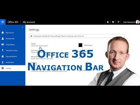 *The Office 365 Navigation Bar* Peter Kalmström goes through the controls in the Office 365 navigation bar: https://www.kalmstrom.com/Tips/Office-365-Course/Office-365-Navigation-Bar.htm