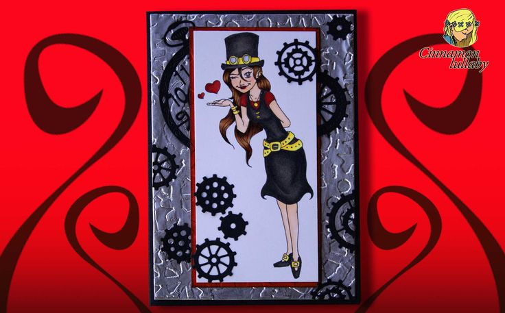 Steampunk is all the rage now, as is highlighted in this card by Juanita Patrick. #cinnamonlullaby #steampunk #steampunkstacey #girl #cardmaking  https://cinnamon-lullaby.myshopify.com/products/steampunk-stacey