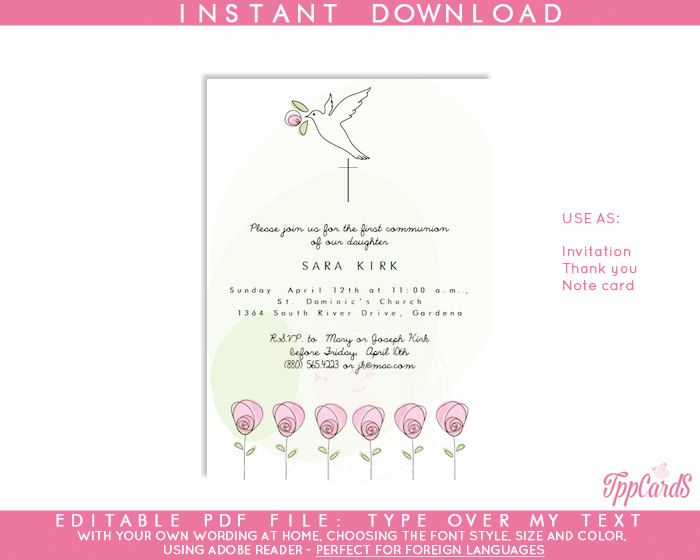 Instant Download 4x6 Dove Baptism Invitations,DIY Editable Pdf,First Communion Invite, Pink Rose Confirmation Invites AUTOFILL ENABLED by TppCardS on Etsy