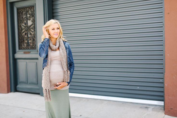 Olive Maternity Maxi Skirt Beige Maternity Cami
