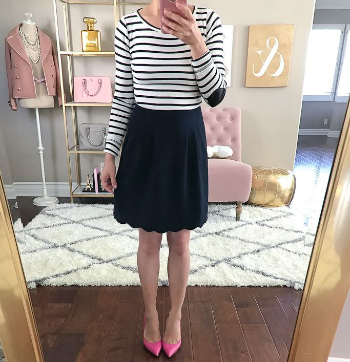 Pink lottie pumps, navy scalloped skirt, striped elbow patch shirt, spring outfit, petite fashion blog - click the photo for outfit and home decor details!