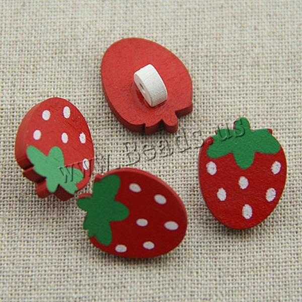 Wood Shank Button, Strawberry, brushwork, red