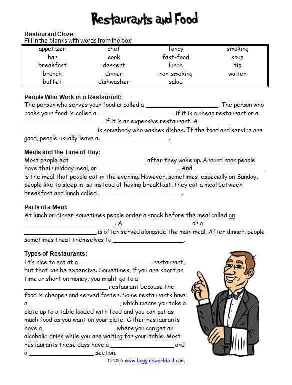 restaurant vocabulary esl - Google Search