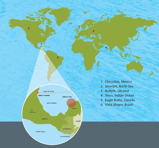 Map of worldwide meteorite impacts